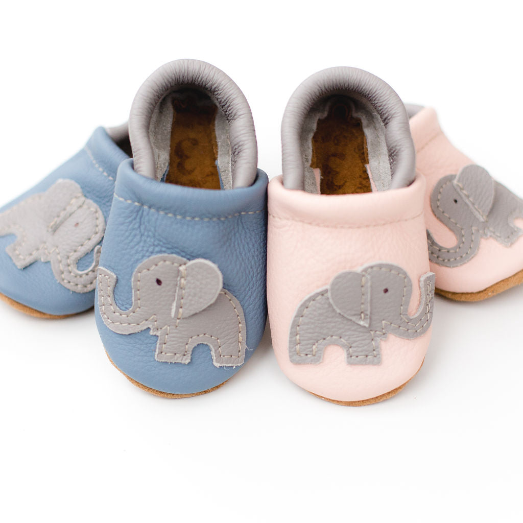 Pink & Blue Elephant Leather Shoes Moccs Baby and Toddler