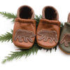 Grizzly Bear on Sienna Leather Shoes Moccs Baby and Toddler