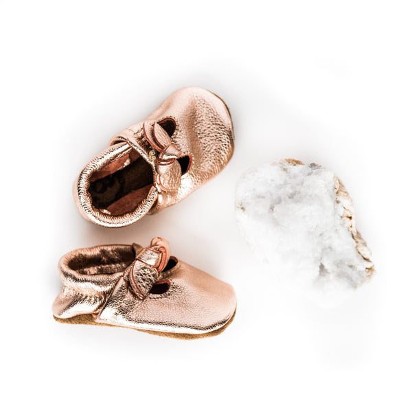 BOW Rose Gold T-Straps Baby and Toddler