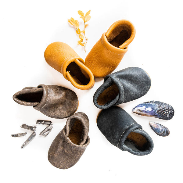 Granite, Onyx, Honey Leather Loafers Shoes Baby and Toddler