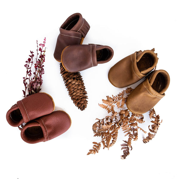 Hazelnut, Walnut, Oak Leather Moccs Shoes Baby and Toddler
