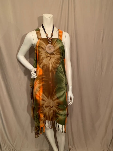 Orange, Brown, Green Tie-Dye