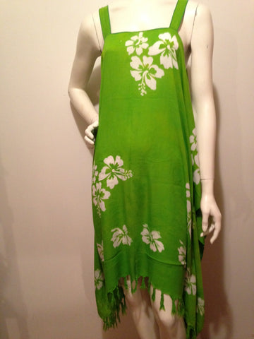 Dres-Song green w white hibiscus