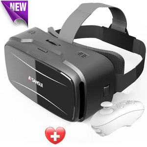 "Vr headset 3d glasses + Smart Bluetooth Remote Control Gamepad for up to 6"" smartphones"