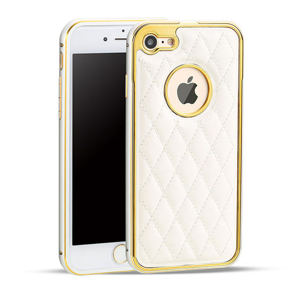 Grid Leather Phone Cases for iPhone Models