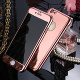 "New 360 Full Body Protection Phone Cases For iPhone 6 6s Plus 5.5"" Luxury Hard Plating PC Mirror Case Armor Free Glass Protector"