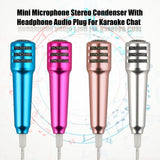 Mini Mobile Phone Microphone Stereo Condenser With Headphone Audio Plug For Karaoke Chatting Singing For Smartphone