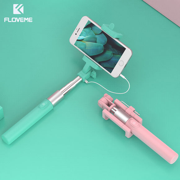 FLOVEME Universal Selfie Stick for iPhone Samsung Huawei Xiaomi Phone Wired Stick Holder Mini Portable Monopod Self Sophie Stick