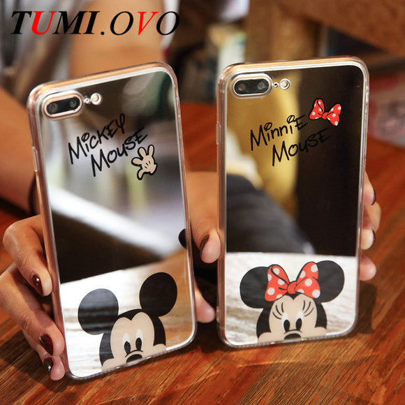 Mickey Mouse Mirror Phone Cases for iPhone 6 6s Plus 5 SE 5S Silicone Gel Soft Back Cover for iPhone 7 7Plus