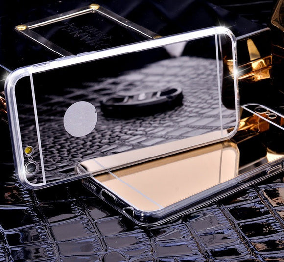 For iPhone X 8 7 6 6S Plus 5S 4S Electroplating Mirror Flash TPU Case for Samsung Galaxy S3 S4 S5 S6 S7 Edge Plus Note 3 4 5 8