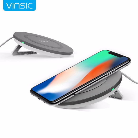 Vinsic Portable 3 Coils Qi Wireless Charger Charging Pad for iPhone 8 8+ iPhone X Samsung Galaxy S7 S6 Note 5