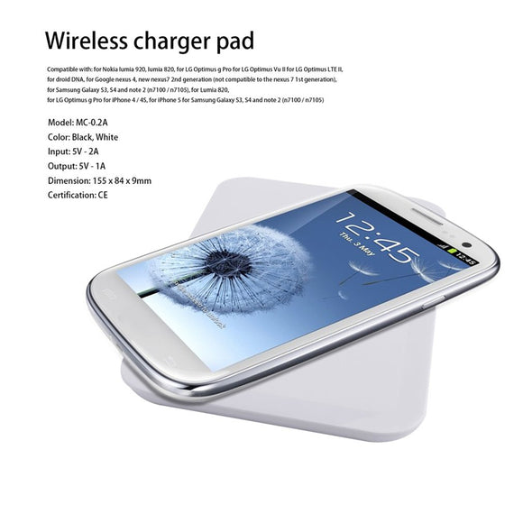 White Qi Standard Wireless Charging Charger Transmitter Pad For iPhone 6 6s 6plus 7 8 for Samsung Galaxy S 3 4 5 6 Note 3 4