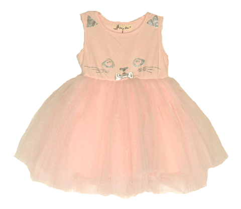 Doe a Dear Pink Jersey Style Top Cat Dress w/ Tulle Flounce