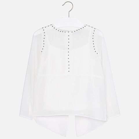 Girl long sleeve chiffon blouse
