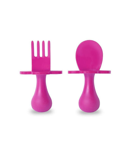 Grabease First Self Feeding Utensil Set w/ Travel Pouch  (Pink)