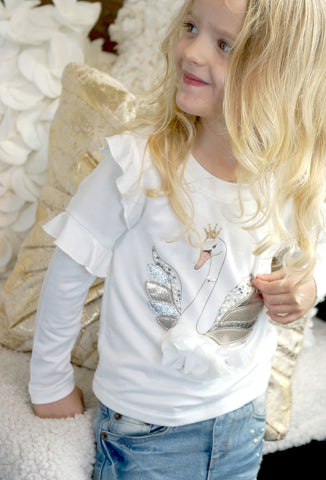Baby Sara Girls L/S Cream Ruffle Top w/ Swan Print Applique