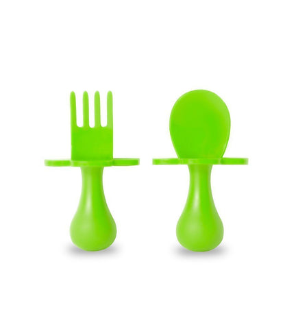 Grabease First Self Feeding Utensil Set w/ Travel Pouch  (Green)
