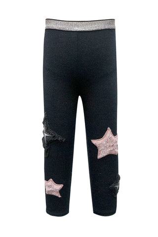 Baby Sara Black Stretchy Soft Leggings w/ Faux Fur Stars Appliques