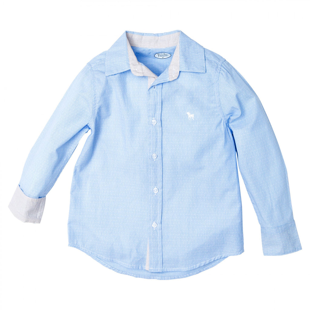 Frenchie Mini Couture Boys Lt Blue L/S Shirt