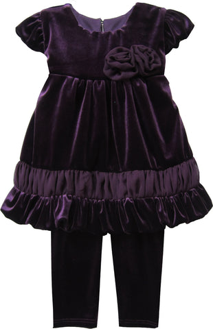 Isobella and Chloe 2-Pc Violet Velour Pant Set