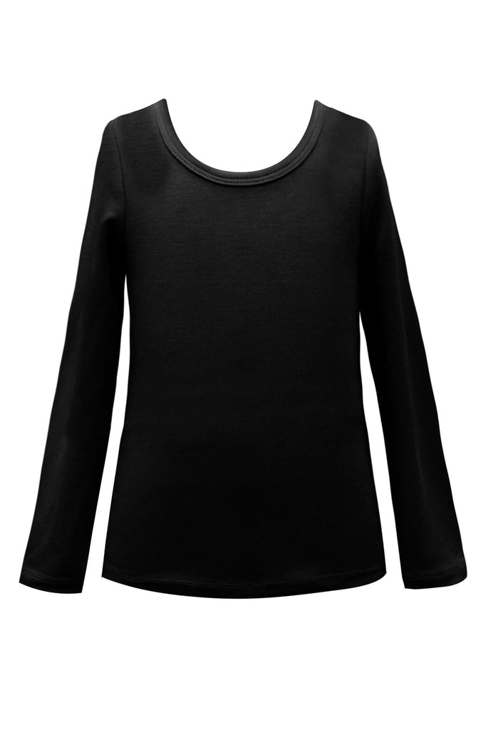 Hannah Banana Girls Black Solid L/S Soft Stretch Top