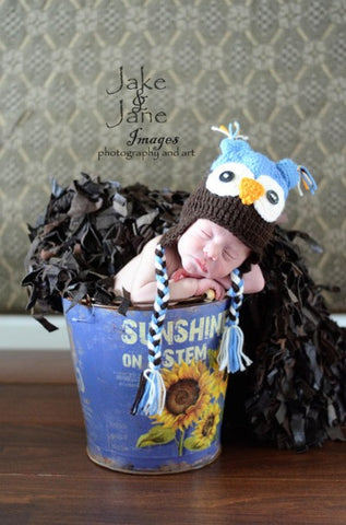 The Daisy Baby Aiden Blue & Brown Trapper Owl Hat