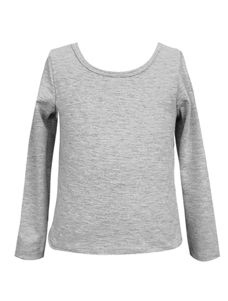 Hannah Banana Girls Gray Solid L/S Soft Stretch Top