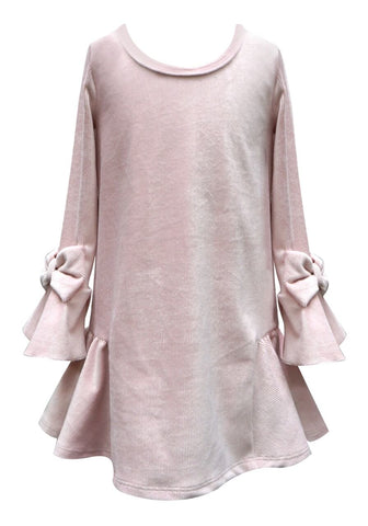 Baby Sara Pink L/S Dress w/ Bell Sleeves and Bows