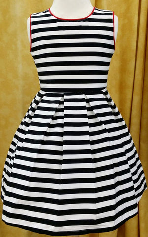 Bottega Bambini Black/White Stripped Sleeveless Dress w/ Red Piping