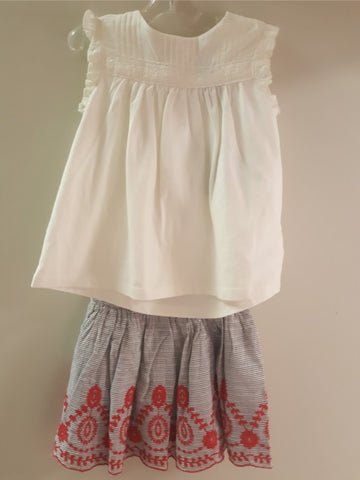 Cynthia Rowley White Top w/ Grey and Red Embroidered lined Skirt 2-pc set