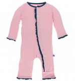 Kickee Pants Solid Muffin Ruffle Coverall with Snaps, Lotus with Twight