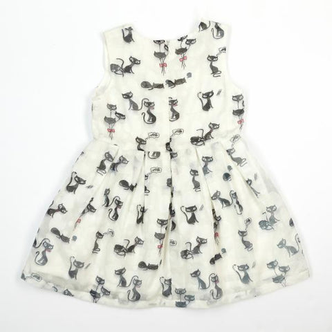 Doe a Dear Sleeveless Cat Print A-Line Dress