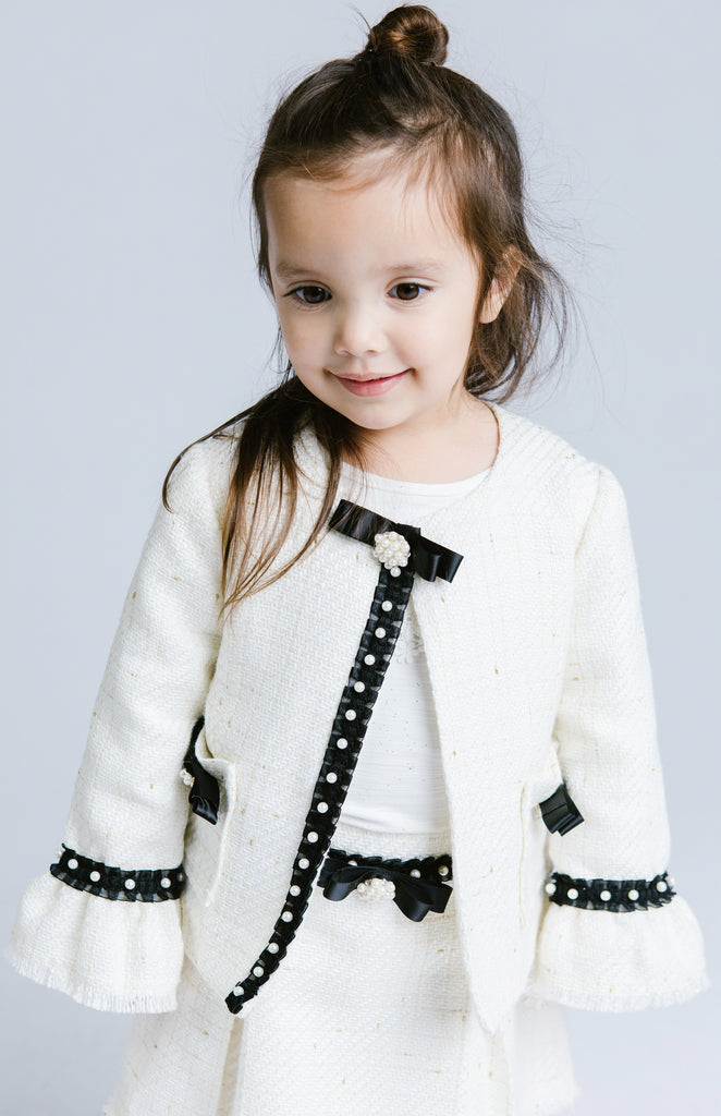 Doe a Dear Tweed Grossgrain 2-pc jacket and skirt with ribbon and pearl details