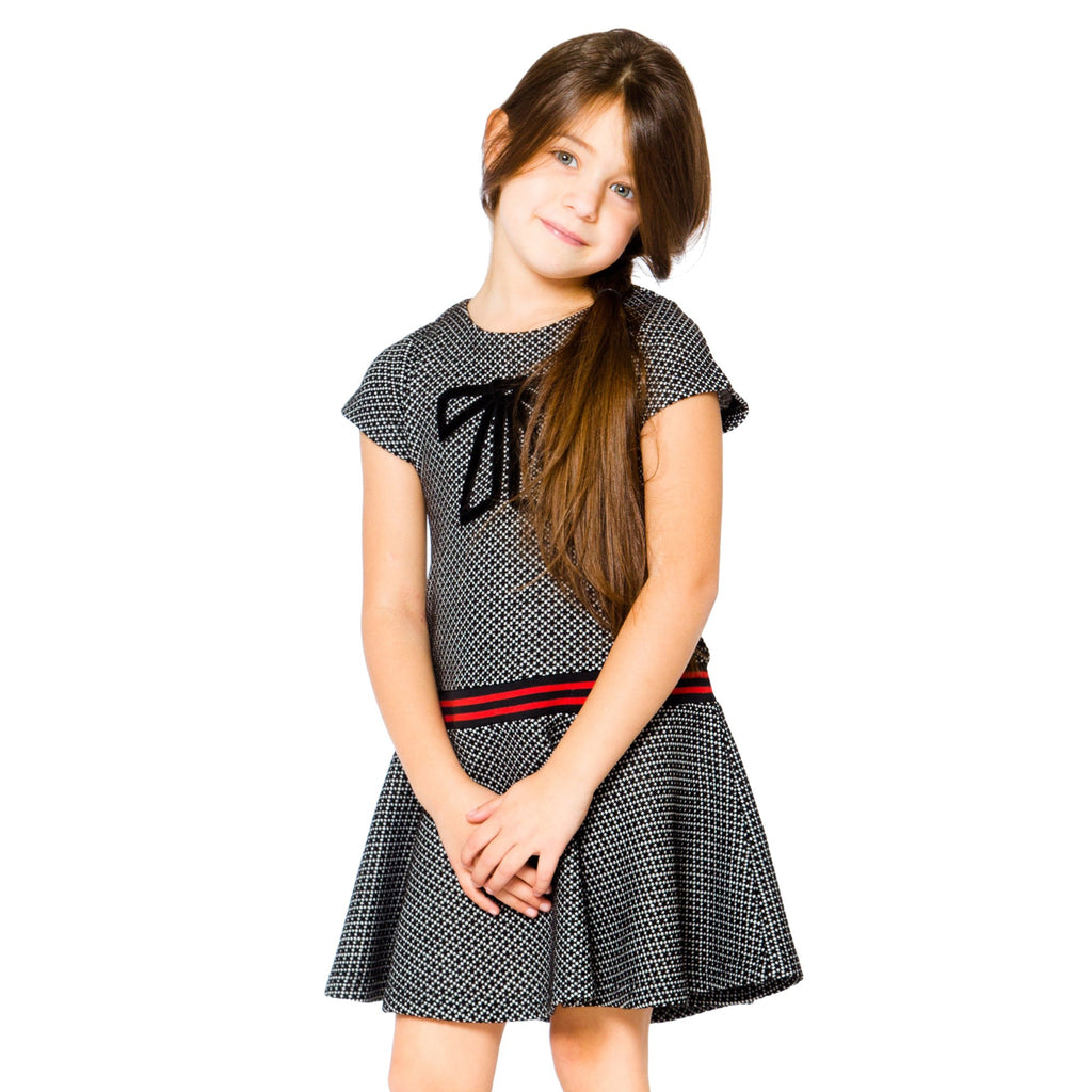 Deux par Deux Multi-Colored Black/White Preppy Flounce Dress