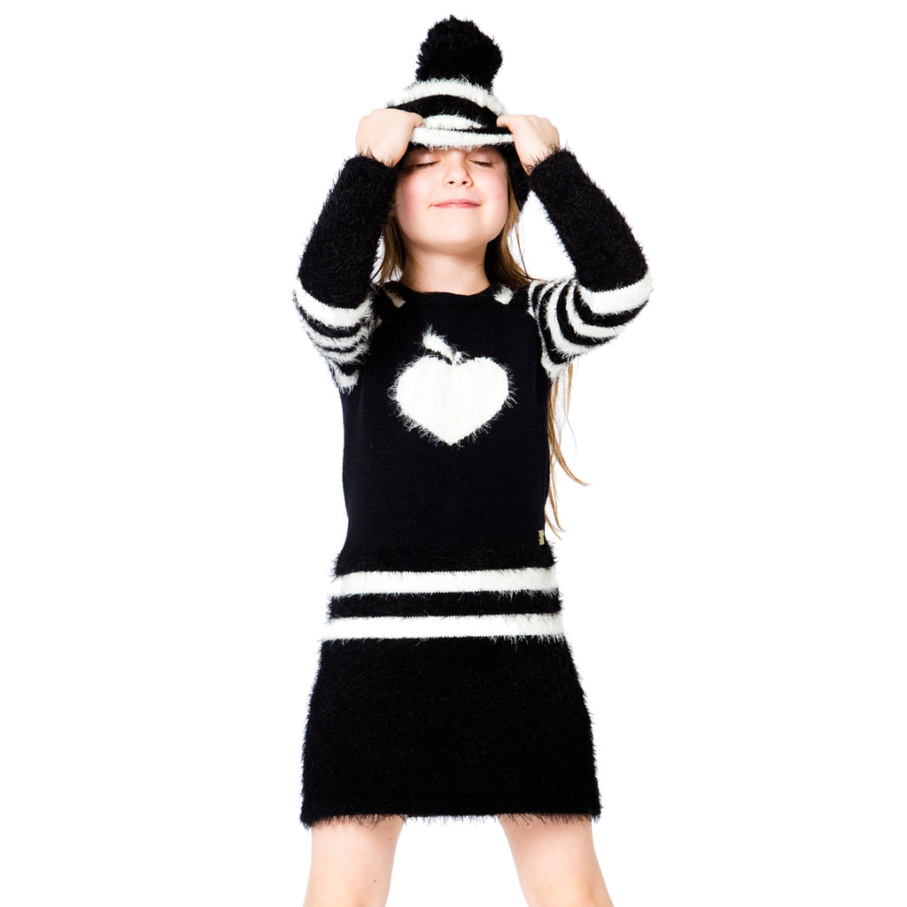 Deux par Deux Black/White Knit L/S Apple Dress