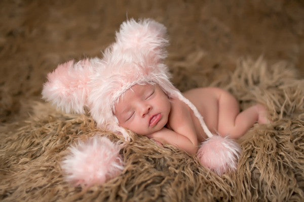 The Daisy Baby Dakota Pink European Pink Bear Hat with Specialty Yarn & Poms