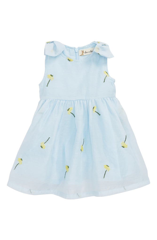 Doe a Dear Sky Blue Bow Strap Dandelion Embroidered Dress