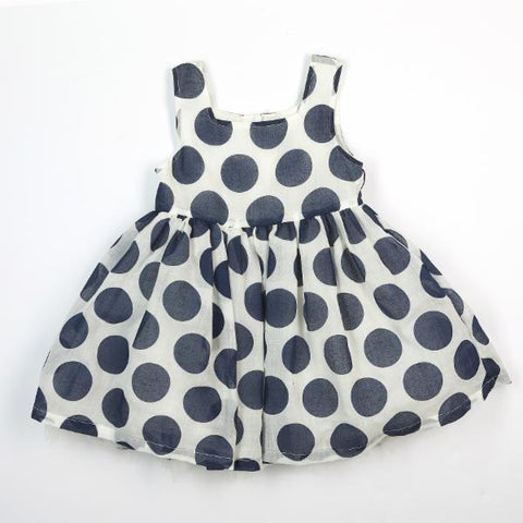Doe A Dear Polka White w/ Blue Dot A-Line Dress