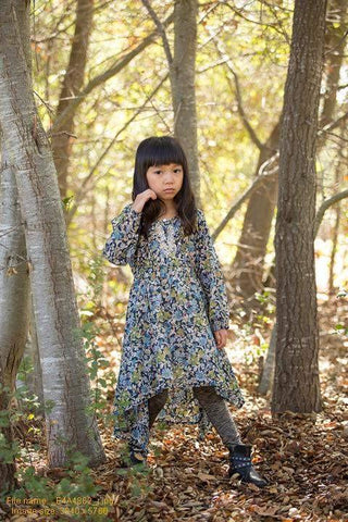 Mimi & Maggie Mountain Flowers Collection Nature Girl Dress in Blue