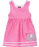 Lil Cactus Hot Pink Dot Elephant Tie-Back Dress