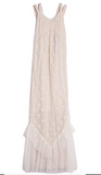 Isobella and Chloe Taupe/Cream lace w/ dots Maxi dress
