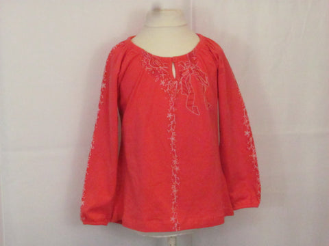 Kanz Vintage garden salmon long sleeve blouse with printed details.