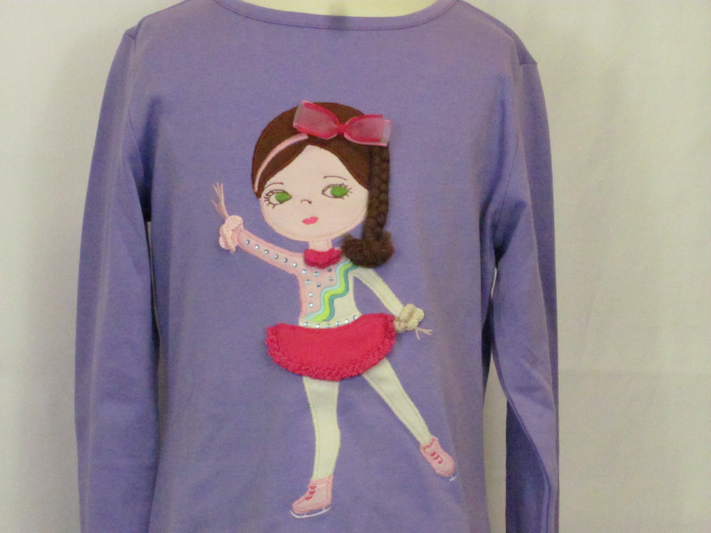 Lemon Loves Lime Girls Purple L/S Top w/ Ice Skater Applique
