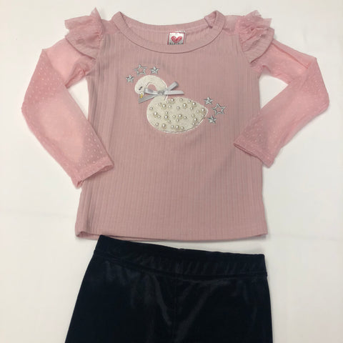 Calla Lily Girls Pink Swan Embroidered L/S Top