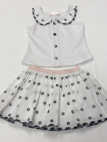 Biscotti Girls Gingham Galore White/Black/Pink Sleeveless Top & Skirt (2-pc set)