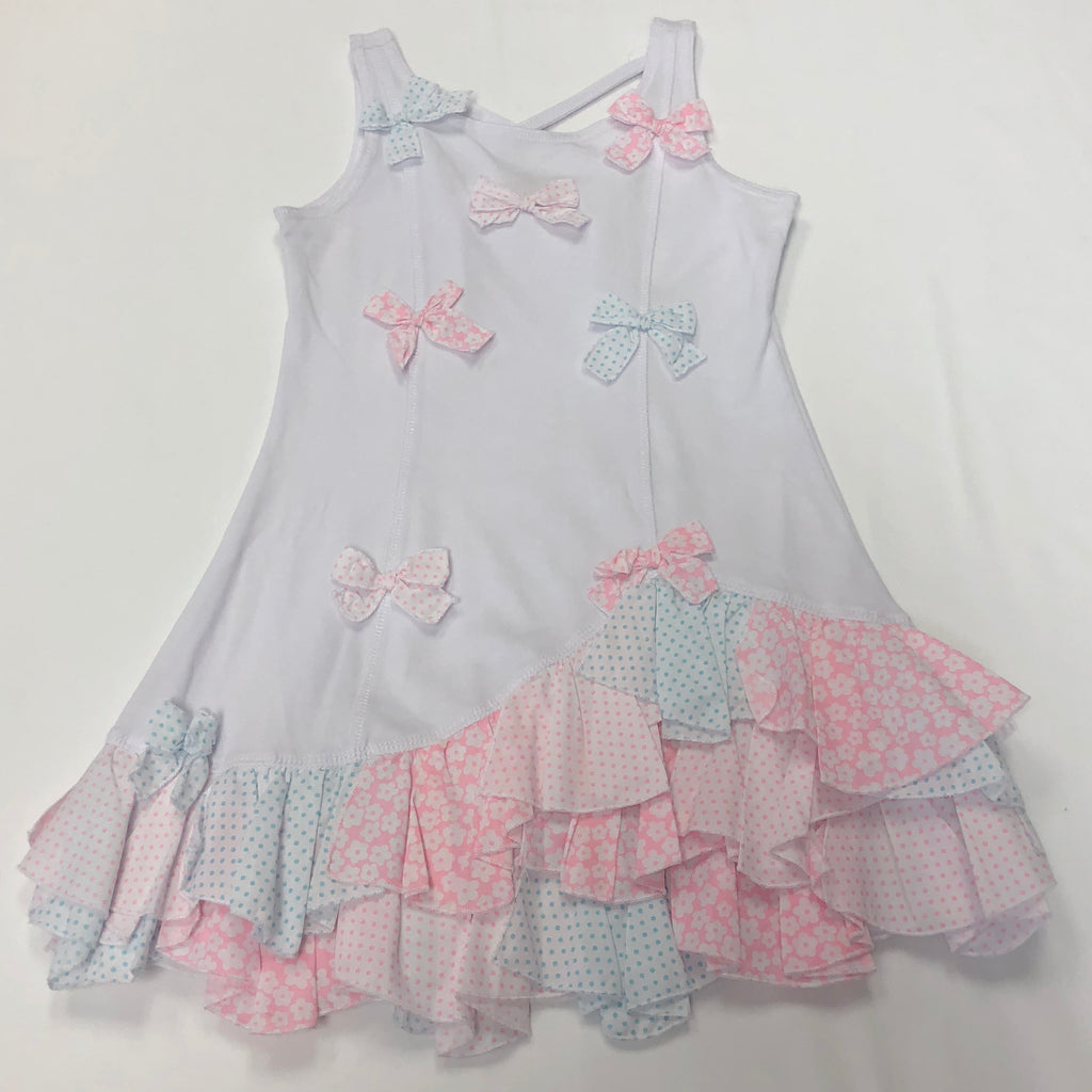 Kate Mack White/Pink/Teal Tank Dress w. Fabric Bow Appliques