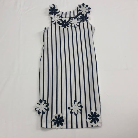 Kate Mack Daisy Crew Navy/White Dress w/ Flower Applique