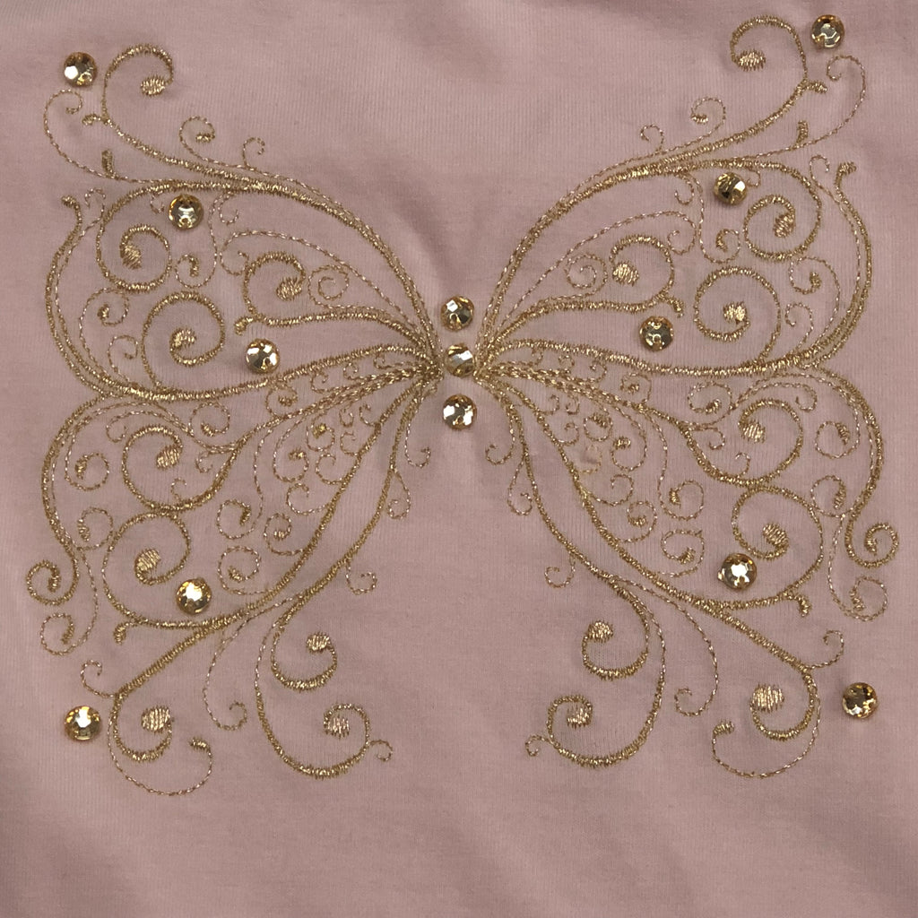 Kate Mack Girls Pink Open Sleeve Top w/ Butterfly Applique