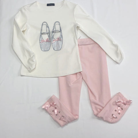 Kate Mack Girls Cream & Pink Ballet Shoes L/S Top & Ribbon Leg Pant  (2-pc set)