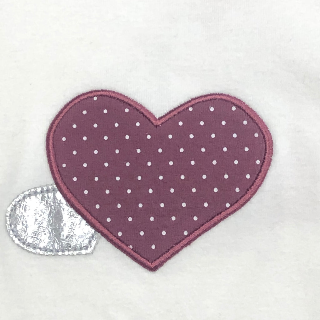 Doe A Dear L/S Crew Top w/ Heart Applique